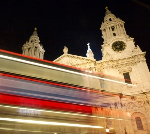 St Paul's with light trails from a double decker bus